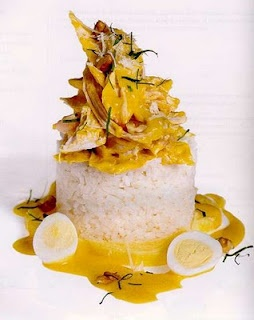 Peruvian Food:  Aji de Gallina - Shredded breast of chicken with spicy sauce over rice, Muy Delicioso !!
