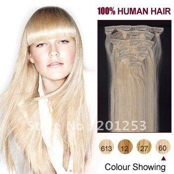 18  новая популярная клип на наращивание волос 100% индийский реми наращивание волос, 70 г/компл. 7 шт./лот, Платиновая блондинка # 60, 5 компл./лот