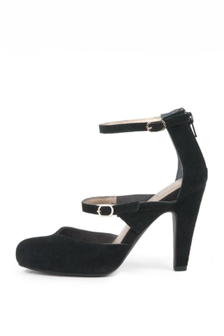 """Adorable black, closed- toe heel with an ankle strap. Two straps with silver, little buckles. Zips in the back. Perfect as a comfortable, stylish shoe for the office or a night on the town!    Heel height: 3.5""""    Harp Heels by Seychelles. Shoes - Pumps & Heels - Mid Heel Shoes - Pumps & Heels - Black Brooklyn, New York City"""