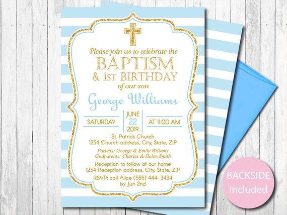 Editable Baptism And First Birthday Invitation Boy Blue And Etsy In 2021 First Birthday Invitations Boy Birthday Invitations Printable Birthday Invitations