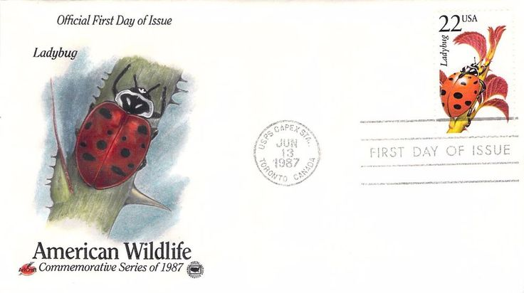 1987 Ladybug Hand Colored Art Craft First Day Cover