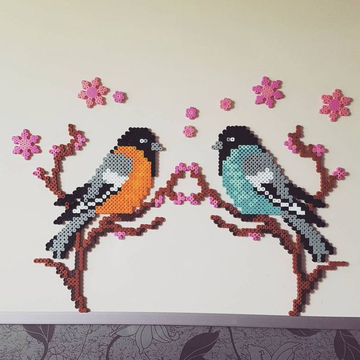 Birds perler beads by sohee5888