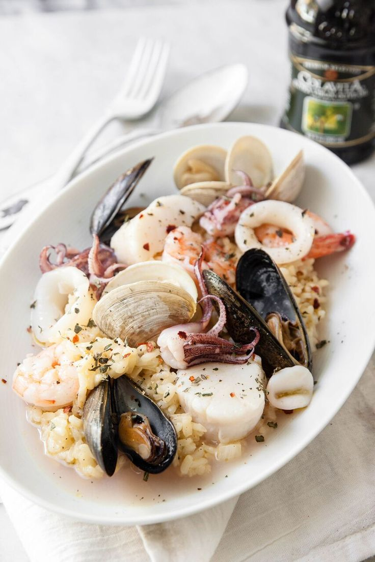 Creamy risotto is balanced by fresh seafood for this Frutti di Mare classic. An excellent entree, especially for Christmas Eve's Feast of the Seven Fishes.