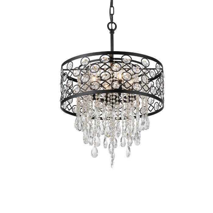 Dupuy 4 Light Unique Statement Drum Pendant With Crystal Accents In 2021 Metal Drum Shade Drum Pendant Ceiling Fan With Remote