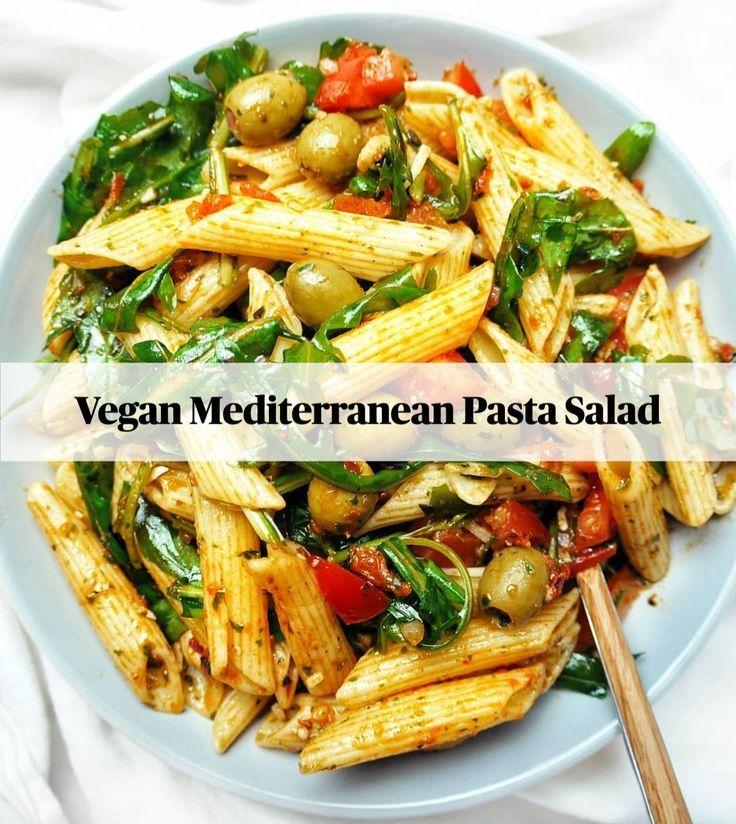 Vegan Mediterranean Pasta Salad Drink Food Mealplan Mealplanning Meat Mediterranean In 2020 Mediterranean Pasta Salads Healthy Recipes Mediterranean Pasta