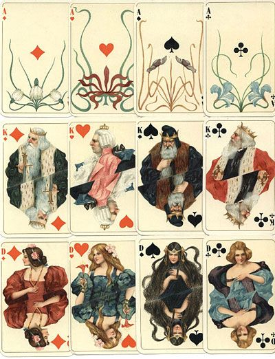 German Art Noveau playing cards printed in Attenburg 1900