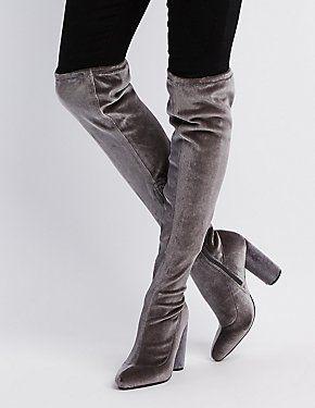 d94b41053 Velvet Over-The-Knee Boots | Velvet | Pinterest | Knee boot, Winter ...