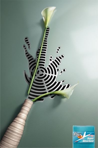 Vase's ad poster for Poly-Brite (Agency : Ogilvy & Mather)