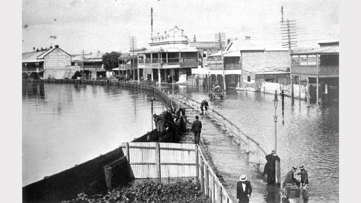 ARCHIVAL REVIVAL 1800s: Images from the Newcastle Herald's archives. Flooding in High Street, Maitland, during the great flood of 1893.