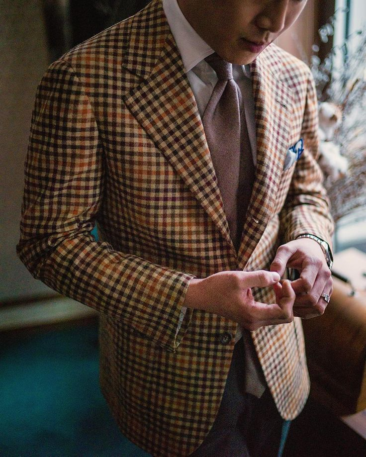 Gun club check sport coat, white shirt, light brown tie