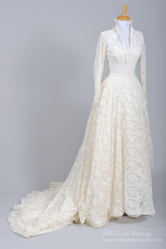 1950's Floral Lace & Silk Taffeta Vintage Wedding Gown : Mill Crest Vintage