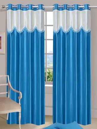 Blue eyelet door curtain