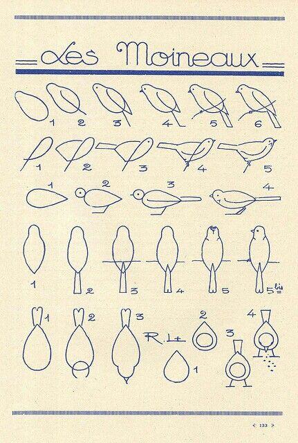 Les Moineaux bird illustration