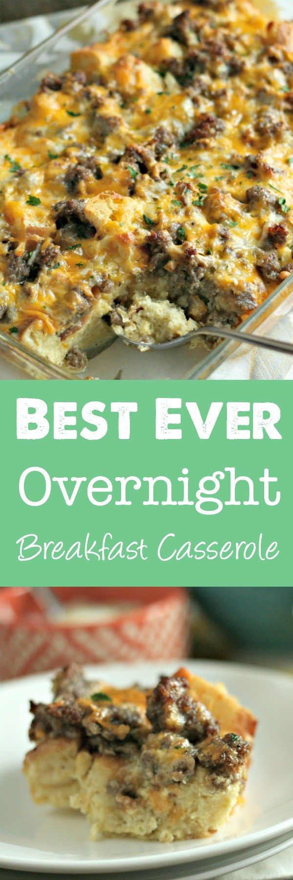 Search no more: this is the BEST overnight breakfast casserole! Using english muffins, sausage and eggs, this is perfect for a crowd and couldn't be easier to make! We love to make this for Christmas Morning or holidays like Easter! via @DashOfEvans