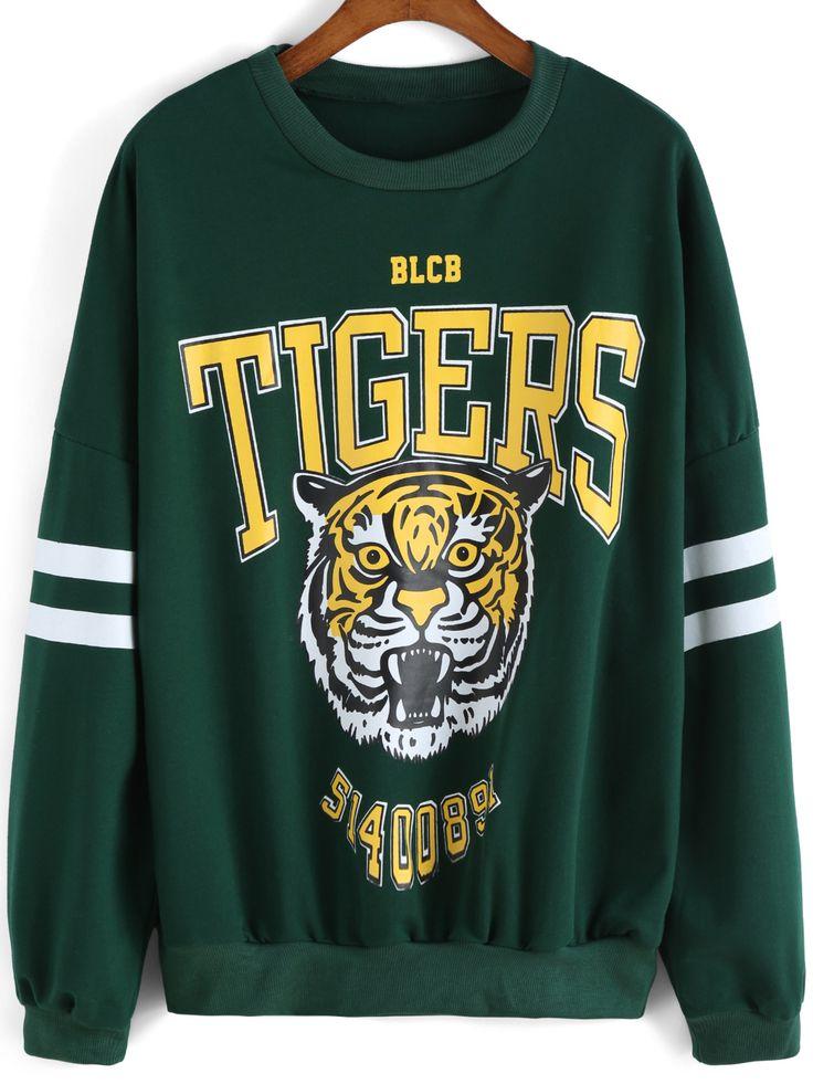 Sweat-shirt décontracté col rond motif tigre -vert  15.94