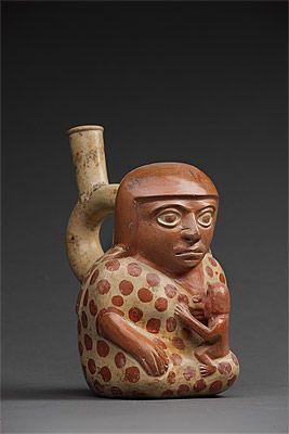| Stirrup vessel in the form of a woman nursing a baby MOCHE