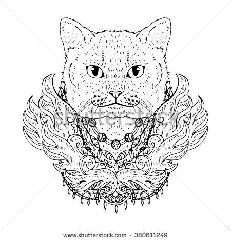 animal Cat head abstract art tattoo doodle sketch. British cat ...