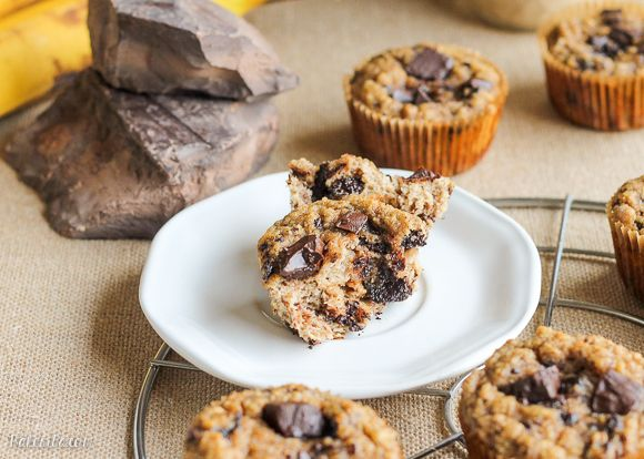 These Paleo Almond Butter Chocolate Chip Banana Muffins taste just like your mom's banana chocolate chip muffins, but with almond butter filling.