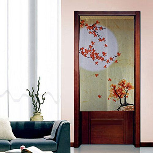 Japanese Tapestry Door Curtain Red Maple Top of Tree on the Month Noren Curtains Doorway Decor * You can find more details by visiting the image link.