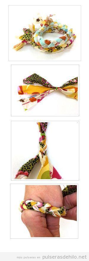 Tutorial paso a paso, pulsera hecha con trozos de tela trenzados