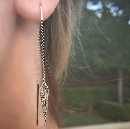 Diamond Dagger Threader Earring