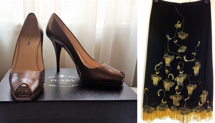 Set - Prada teen Hof schoenen en Karen Millen rok  Met deze set krijgt u:1e - prachtige Prada teen Hof schoenen.Paarse hakken 10 cmLederen bovenste en buitenste zolen.De schoenen zijn in uitstekende staat geen gebreken.Grootte 40(EUR)Kleur: bruinDe schoenen werden eenmaal gedragen binnenshuis en zijn in uitstekende conditie zonder gebreken. Ze zijn zeer comfortabel.Kwam met originele Prada vak en stof zakken.2e-mooie avond rok door KAREN MILLEN.Gorgeous geborduurd en kraaltjes ontwerp.Zeer…
