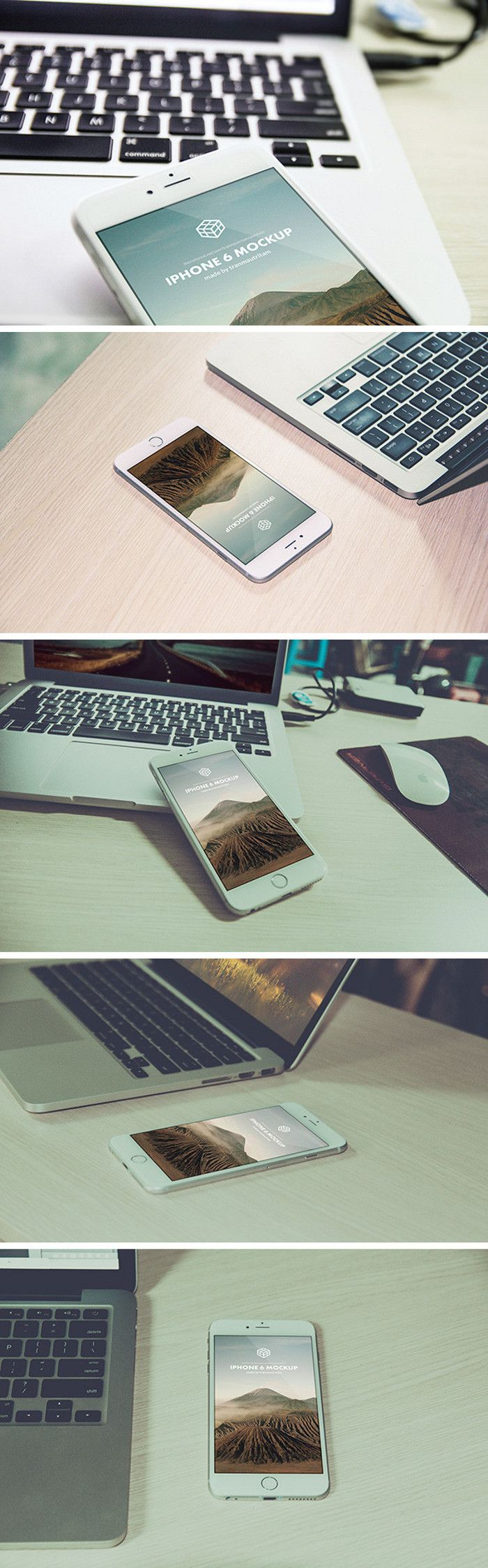 Free 5 Photorealistic iPhone 6 Plus PSD Mockups by Tan Mau Tri Tam #iphone6 #mockups #psd