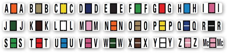 Color-Coded Alphabet Labels Full Set Ringbook - Full Set A-Z.  Our labels are 100% compatible with the leading Automotive Systems in place in the majority of dealerships. All labels are laminated and die-cut for long life and easy installation. Compare our prices and start saving today!  • Ringbooks contain 270 Alphabet Labels per set. • Full Set A-Z