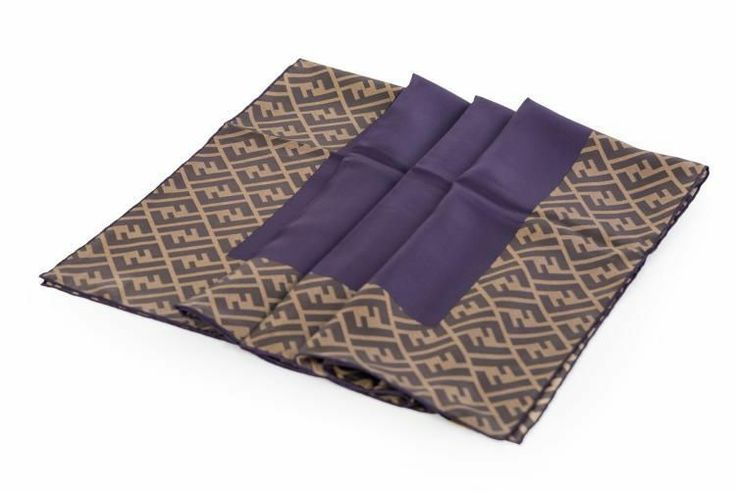 FENDI SCARF WOMAN 100% silk ZUCCA + PURPLE NEW ORIGINAL FXT036