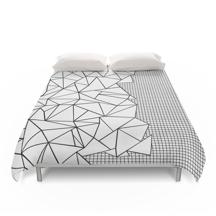 """Amazon.com: Society6 Abstraction Outline Grid On Side White Duvet Covers Queen: 88"""" x 88"""":  #white #homedecor #blackandwhite #abstract #geometric #grid #bedding #artforthehome"""