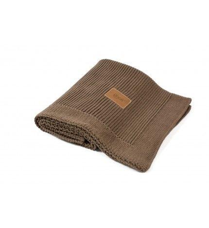 Kocyk tkany z bawełny organicznej Poofi czekoladowy