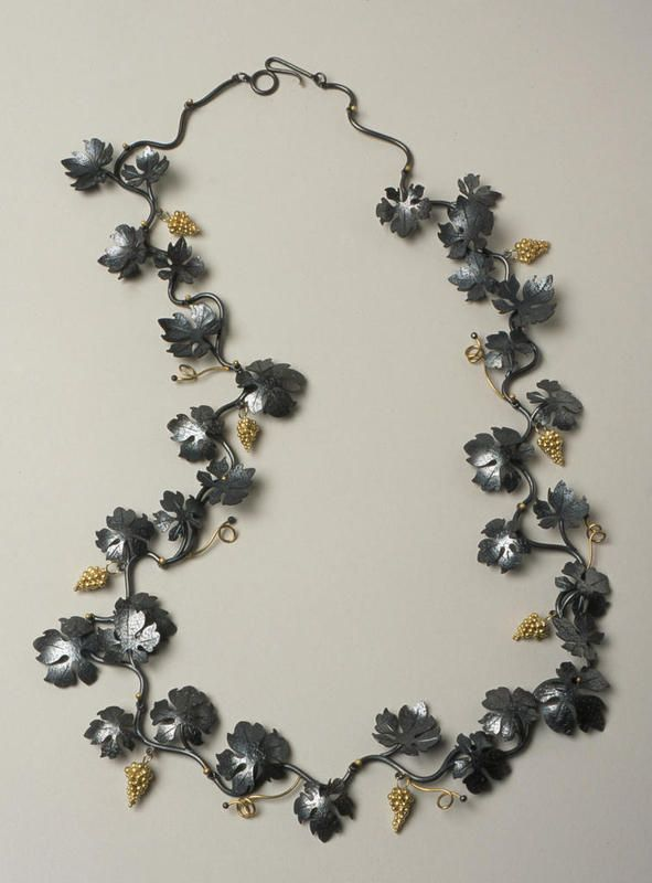 Suzan Rezac oxidized silver 18K gold grape necklace