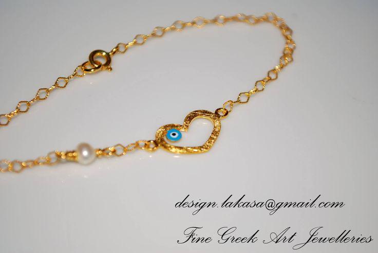 Enamel heart eye bracelet sterling silver gold plated fine jewelry pearl in chain best idea gift for her christmas birthday anniversary #enamel #heart #eye #bracelet #jewelry #silver #jewellery #gift #woman #moda #luxury #fine #joyas #mujer #βραχιολι #ασημι #γυναικα #δωρο #κοριτσι #φυλαχτο #καρδια