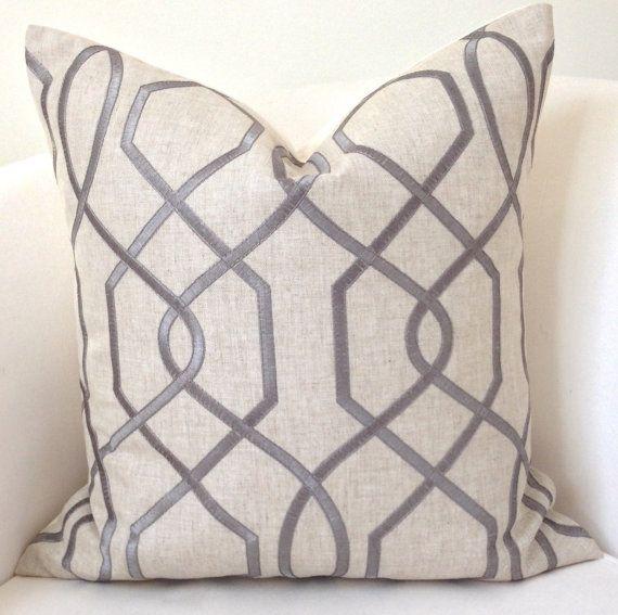 Gray Pillow Cover Neutral Pillow Throw Pillow Trellis Pillow Decorative Pillows Accent Cushion Grey Pillow