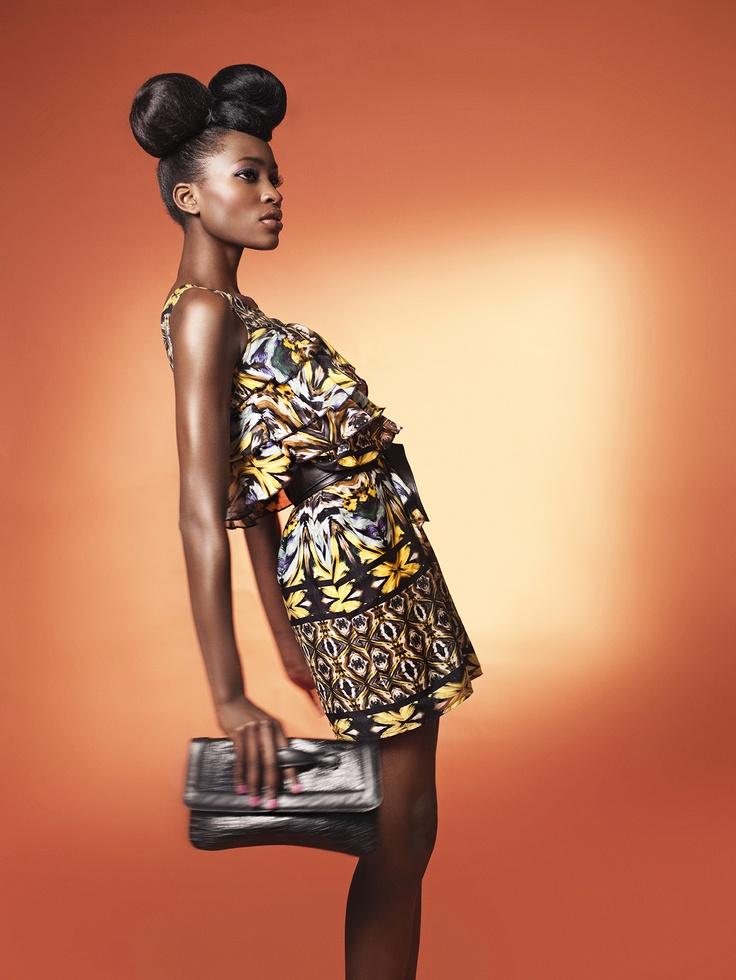 Kaleidoscope Ruffle Dress and Croc Print Leather Clutch