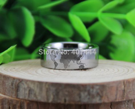 Free Shipping USA UK Canada Russia Brazil Hot Sales 8MM Silver Pipe World Map Design New Men's Tungsten Carbide Wedding Rings