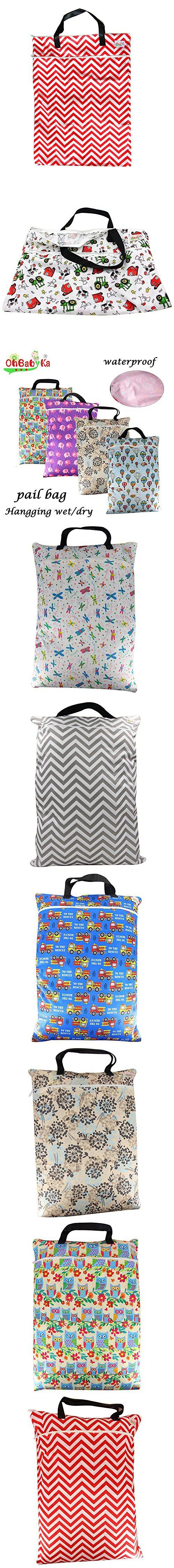 Large Wet Dry Hanging Stroller Pockets Pail Bag for Baby Cloth Diaper Nappy Bag - OHBABYKA (one size, Red Chevron)