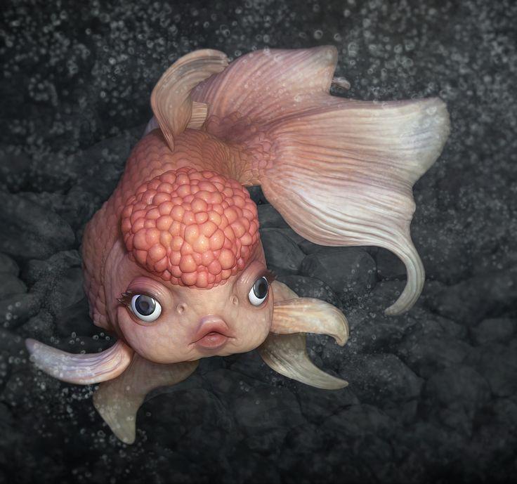 Peaches the Pin Up Goldfish, Swasti DW on ArtStation at https://www.artstation.com/artwork/ZJEQ8  goldfish 3d zbrush female stylized