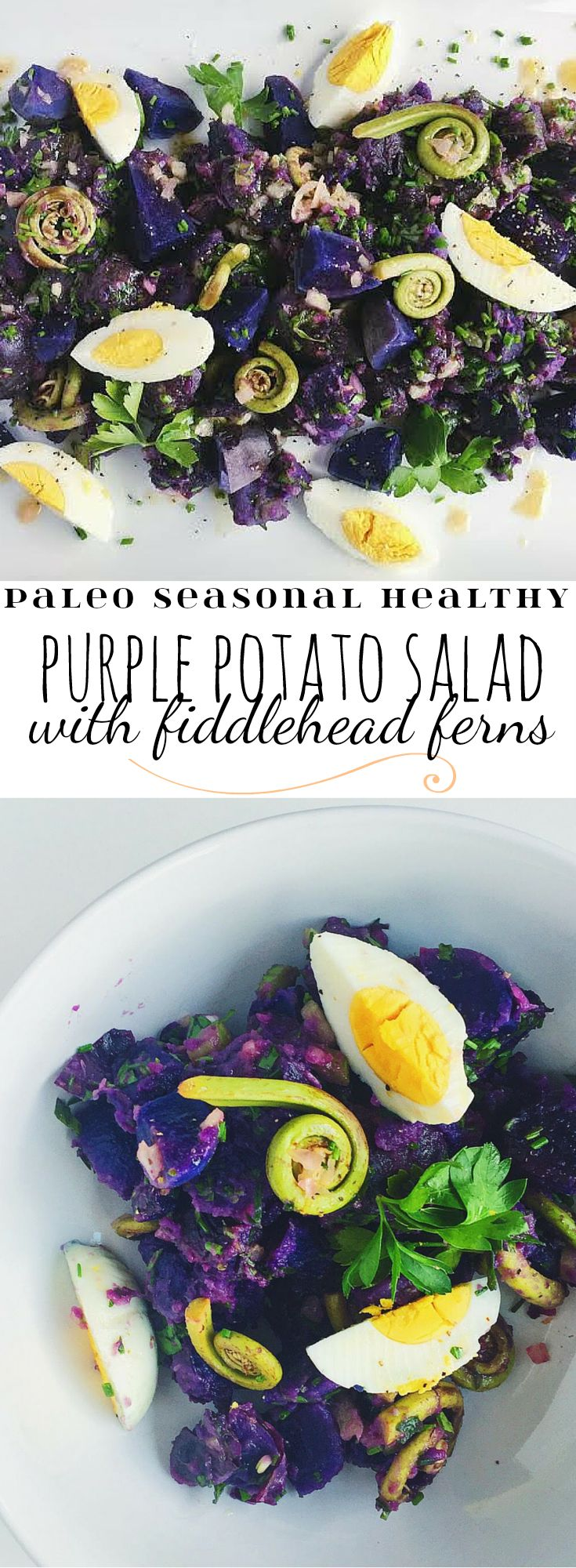 Seasonal purple potato salad with fiddlehead ferns and a lemony vinaigrette!