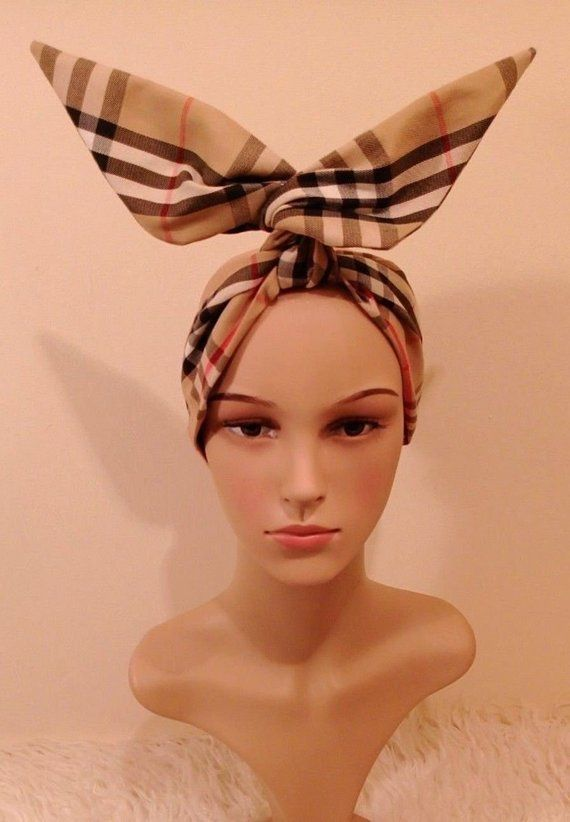 4c156e5b6c2ea Designer Burberry Inspired head band bandana, Wire Head wrap ...