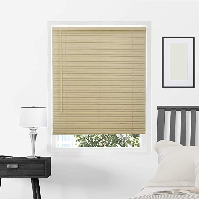 Chicology Horizontal Venetian Slat Window Shade Cordless 1 Inch Vinyl Mini Blinds Gloss Cappuccino 29 X 64 29 W X 6 Vinyl Mini Blinds Mini Blinds Window Shades