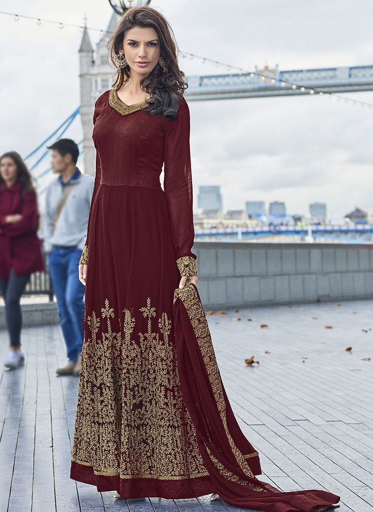 Buy Maroon Georgette Abaya Style Anarkali Suit online from the wide collection of anarkali-suit.  This Maroon colored anarkali-suit in Faux Georgette fabric goes well with any occasion. Shop online Designer anarkali-suit from cbazaar at the lowest price.