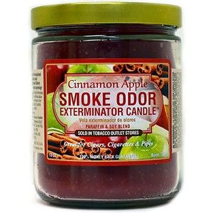 Cinnamon Apple Smoke Odor Candle  Cinnamon Apple Smoke Odor Candle has notes of spicy cinnamon and crisp apples. Smoke Odor Exterminator Cinnamon Apple Candles are great for cigars, cigarettes, and pipes. Enzyme formulated candle, attacks and removes smoke odors when burning. Each candle weighs 13 oz. and will burn for approximately 70 hours. These fragrant candles make wonderful gifts even for non-smokers! #sunshinedaydream #hippieshop