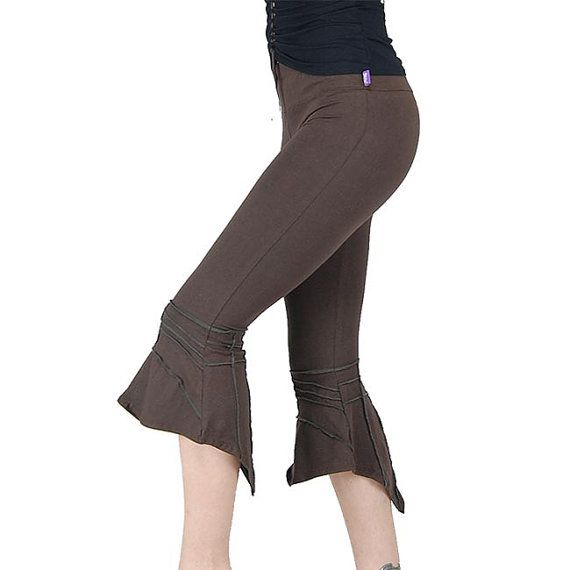 Fairy's sharp legging in the back and flared below, brown color. Pixie, festival, trance, steampunk, hippie, gypsy, burning man