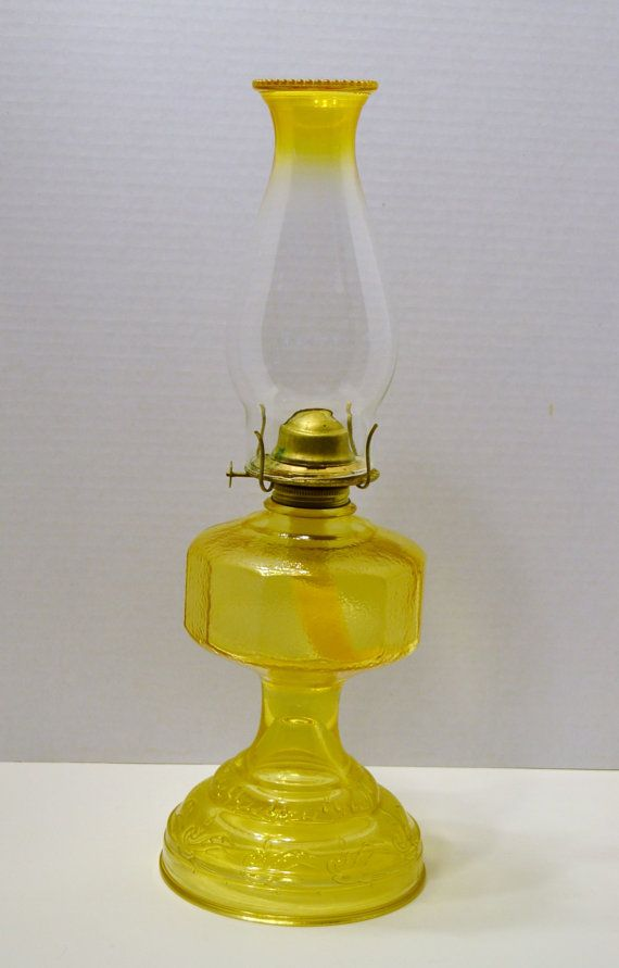 Vintage Yellow Glass Oil Lamp Non Electric Made in by PanchosPorch, $27.50