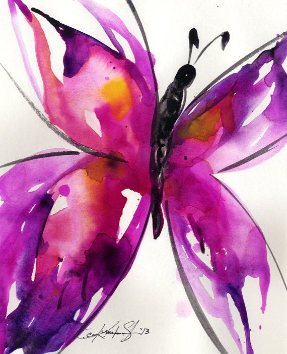 Butterfly Song 30... Original abstract watercolor art ooak painting by Kathy Morton Stanion  EBSQ