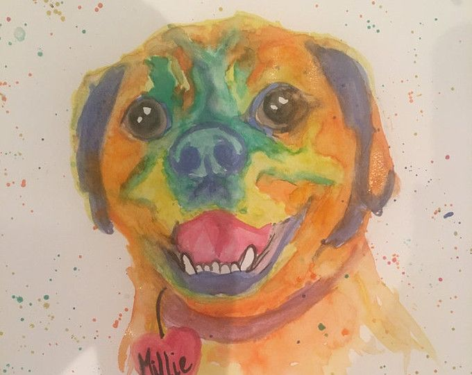 Custom Watercolor Pet Portraits from PrettyPoppyBySally on Etsy