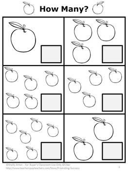 FREE Apples: Here is a sample counting page from my Apples PK-K Math Activity Packet. These apple math pages go along nicely with many children's literature books, including Dr. Seuss. (Apples on Top - on of my favorites!).   -Repinned by Totetude.com