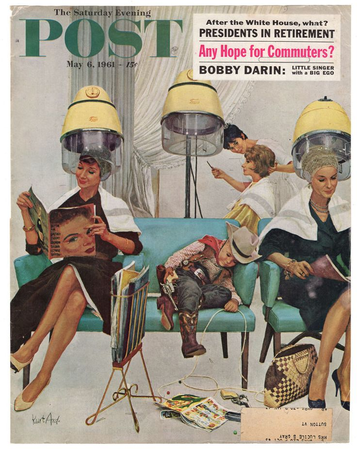 paperink id: prints20000 Beauty Shop Hairdressing Mod Retro Artwork 1961 Post Cover Art Illustration featuring women under dryers reading magazines and a little sleeping cowboy! Offered is an original
