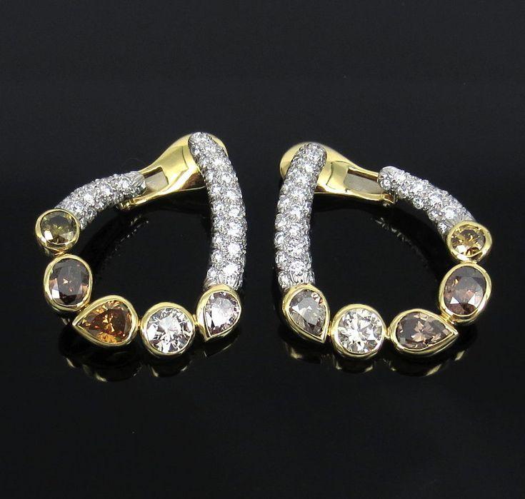 David Webb 7.50ct Multi Color & 4.0ct White Diamond Platinum & Gold Earrings #DavidWebb
